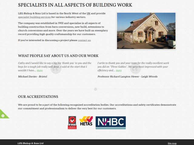 A screen shot of the LEG Bishop & Sons Ltd website