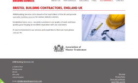 A screenshot showing the homepage of ARW Building Services Ltd.