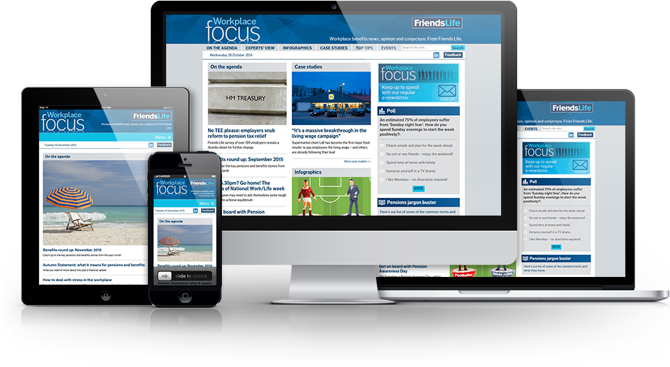 Various devices showing the website as responsive.
